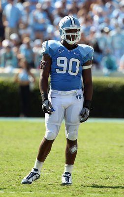 CHAPEL HILL, NC - SEPTEMBER 18:  Quinton Coples #90 of the North Carolina Tar Heels during their game at Kenan Stadium on September 18, 2010 in Chapel Hill, North Carolina.  (Photo by Streeter Lecka/Getty Images)