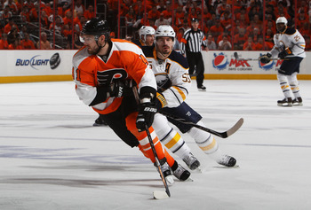 PHILADELPHIA, PA - APRIL 26:  Andrej Meszaros #41 of the Philadelphia Flyers controls the puck against Jochen Hecht #55 of the Buffalo Sabres in Game Seven of the Eastern Conference Quarterfinals during the 2011 NHL Stanley Cup Playoffs at Wells Fargo Cen