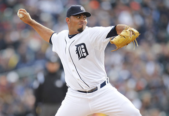 DETROIT, MI - APRIL 08:  Joaquin Benoit #53 of the Detroit Tigers throws a eighth inning pitch while playing the Kansas City Royals on Opening Day at Comerica Park on April 8, 2011 in Detroit, Michigan. Detroit won the game 5-2.  (Photo by Gregory Shamus/