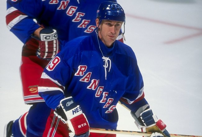 16 Dec 1997:  Center Wayne Gretzky of the New York Rangers in action during a game against the New Jersey Devils at the Continental Airlines Arena in East Rutherford, New Jersey.  The Devils won the game 4-3. Mandatory Credit: Al Bello  /Allsport
