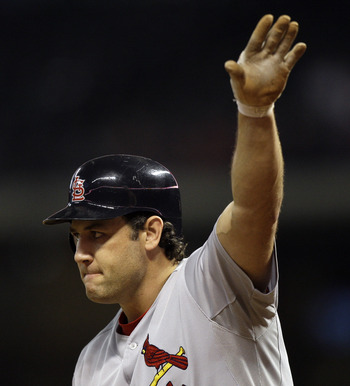 HOUSTON - APRIL 26:  First baseman Lance Berkman #12 of the St.Louis Cardinals acknowledges the crowd at Minute Maid Park on April 26, 2011 in Houston, Texas.  (Photo by Bob Levey/Getty Images)