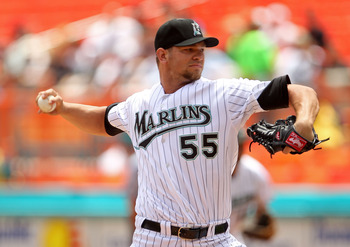 MIAMI GARDENS, FL - APRIL 24:  Josh Johnson #55 of the Florida Marlins pitches during a game against the Colorado Rockies at Sun Life Stadium on April 24, 2011 in Miami Gardens, Florida.  (Photo by Mike Ehrmann/Getty Images)