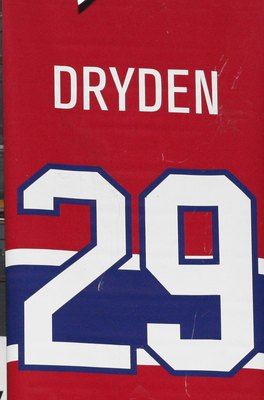 MONTREAL- APRIL 19:  A photo of the banners commemorating the retired jerseys of Henri Richard, Yvan Cournoyer and Ken Dryden hanging in the Bell Centre prior to Game Three of the Eastern Conference Quarterfinals between the Washington Capitals and Montre