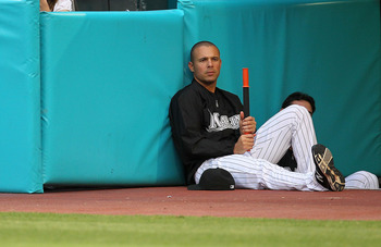 MIAMI GARDENS, FL - APRIL 25: Javier Vasquez #23 of the Florida Marlins looks on during a game against the Los Angeles Dodgers at Sun Life Stadium on April 25, 2011 in Miami Gardens, Florida.  (Photo by Mike Ehrmann/Getty Images)