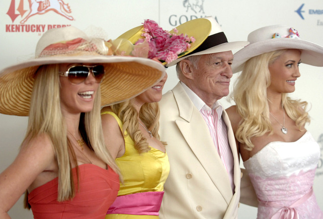 LOUISVILLE, KY - MAY 3: (L-R) Playboy's Kendra Wilkerson, Bridget Marquardt, Hugh Hefner and Holly Madison attend the 134th running of the Kentucky Derby at Churchill Downs on May 3, 2008 in Louisville, Kentucky. (Photo by Jeff Gentner/Getty Images)