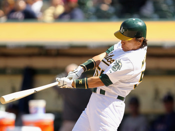 OAKLAND, CA - MAY 02:  Hideki Matsui #55 of the Oakland Athletics hits a walk off home run to win the game in the tenth inning against the Texas Rangers at Oakland-Alameda County Coliseum on May 2, 2011 in Oakland, California.  (Photo by Ezra Shaw/Getty I
