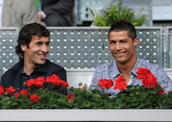 Raul with current Madrid starlet Cristiano Ronaldo