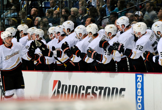 NASHVILLE, TN - APRIL 20:  Cam Fowler #4 of the Anaheim Ducks celebrates a goal with teammates against the Nashville Predators in Game Four of the Western Conference Quarterfinals during the 2011 NHL Stanley Cup Playoffs at Bridgestone Arena on April 20,
