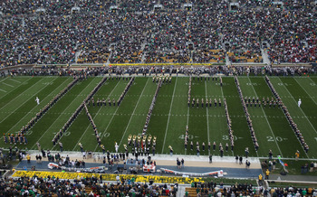 SOUTH BEND, IN - SEPTEMBER 25: Members of the Notre Dame Fighting Irish band perform before a game between Notre Dame and the Stanford Cardinal at Notre Dame Stadium on September 25, 2010 in South Bend, Indiana. Stanford defeated Notre Dame 37-14. (Photo