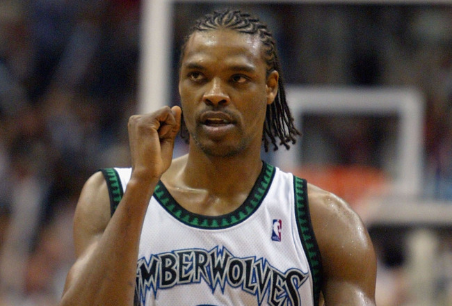MINNEAPOLIS - MAY 19: Latrell Sprewell #8 of the Minnesota Timberwolves celebrates during the second half against the Sacramento Kings in game seven of the NBA Western Conference Semifinals on May 19, 2004 at the Target Center  in Minneapolis, Minnesota.