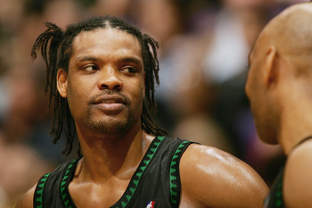 LOS ANGELES - MARCH 31:  Latrell Sprewell #8 of the Minnesota Timberwolves looks on during a break in action against the Los Angeles Lakers on March 31, 2005 at Staples Center in Los Angeles, California. NOTE TO USER: User expressly acknowledges and agree