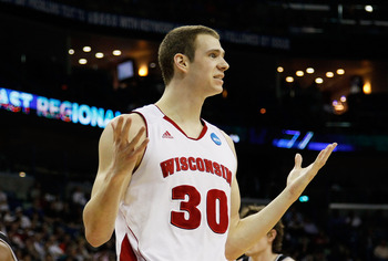 NEW ORLEANS, LA - MARCH 24:  Jon Leuer #30 of the Wisconsin Badgers reacts after being called for a foul against the Butler Bulldogs during the Southeast regional of the 2011 NCAA men's basketball tournament at New Orleans Arena on March 24, 2011 in New O