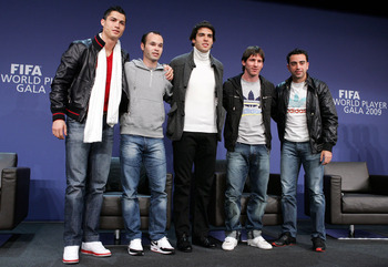 ZURICH - SWITZERLAND - DECEMBER 21:  (L-R) Portugal's Cristiano Ronaldo, Spain's Andres Iniesta, Brazil's Kaka, Argentina's Lionel Messi and Spain's Xavi Hernandez during a Press Conference for the FIFA 2009 World Player Of The Year at the Kongresshaus on