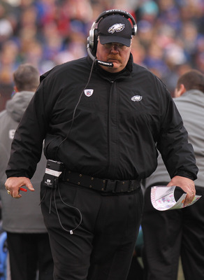EAST RUTHERFORD, NJ - DECEMBER 19:  Head coach  of the Philadelphia Eagles Andy Reid watches on during the game against the New York Giants at New Meadowlands Stadium on December 19, 2010 in East Rutherford, New Jersey.  (Photo by Nick Laham/Getty Images)