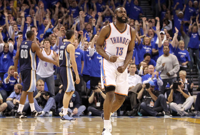 OKLAHOMA CITY, OK - MAY 03:  James Harden #13 of the Oklahoma City Thunder reacts at the end of the first quarter while taking on the Memphis Grizzlies in Game Two of the Western Conference Semifinals in the 2011 NBA Playoffs on May 3, 2011 at Oklahoma Ci
