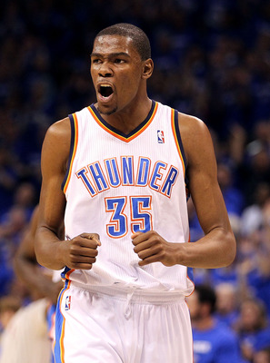 OKLAHOMA CITY, OK - MAY 03:  Forward Kevin Durant #35 of the Oklahoma City Thunder reacts against the Memphis Grizzlies in Game Two of the Western Conference Semifinals in the 2011 NBA Playoffs on May 3, 2011 at Oklahoma City Arena in Oklahoma City, Oklah