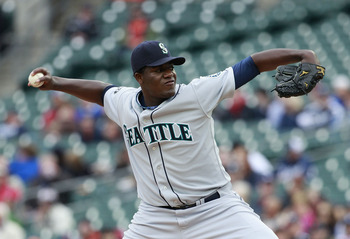 DETROIT - APRIL 28: Michael Pineda #36 of the Seattle Mariners pitches in the first inning during the game against the Detroit Tigers at Comerica Park on April 28, 2011 in Detroit, Michigan. (Photo by Leon Halip/Getty Images)