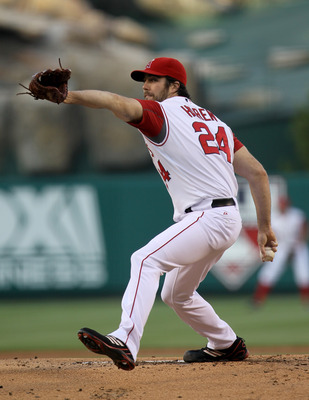 ANAHEIM, CA - SEPTEMBER 06:  Dan Haren #24 of the Los Angeles Angels of Anaheim pitches against the Cleveland Indians on September 6, 2010 at Angel Stadium in Anaheim, California.  (Photo by Stephen Dunn/Getty Images)