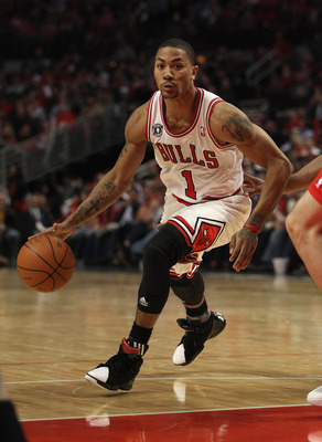 CHICAGO, IL - MAY 02: Derrick Rose #1 of the Chicago Bulls drives against the Atlanta Hawks in Game One of the Eastern Conference Semifinals in the 2011 NBA Playoffs at the United Center on May 2, 2011 in Chicago, Illinois. The Hawks defeated the Bulls 10