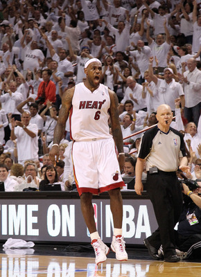 MIAMI, FL - MAY 03:  LeBron James #6 of the Miami Heat reacts to a shot during Game Two of the Eastern Conference Semifinals of the 2011 NBA Playoffs against the Boston Celtics at American Airlines Arena on May 3, 2011 in Miami, Florida. NOTE TO USER: Use