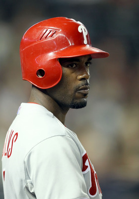 PHOENIX, AZ - APRIL 26:  Jimmy Rollins #11 of the Philadelphia Phillies on deck during the Major League Baseball game against the Arizona Diamondbacks at Chase Field on April 26, 2011 in Phoenix, Arizona. The Diamondbacks defeated the Phillies 7-5.  (Phot