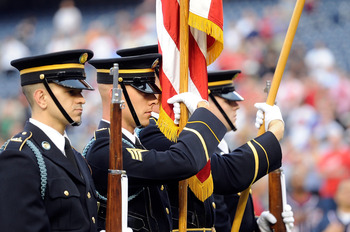 WASHINGTON, DC - MAY 02:  The U.S. Army Color Guard displays the Colors before the game between the San Francisco Giants and the Washington Nationals on Military Appreciation Night at Nationals Park on May 2, 2011 in Washington, DC.  (Photo by Greg Fiume/