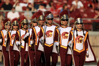 PALO ALTO, CA - OCTOBER 09:  The USC Trojan band performs before their game against the Stanford Cardinal at Stanford Stadium on October 9, 2010 in Palo Alto, California.  (Photo by Ezra Shaw/Getty Images)