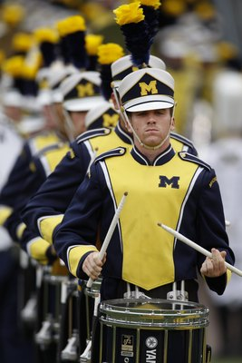 ANN ARBOR, MI - SEPTEMBER 27:  The Michigan Wolverines marching band performs during the game against the Wisconsin Badgers on September 27, 2008 at Michigan Stadium in Ann Arbor, Michigan. (Photo by Gregory Shamus/Getty Images)