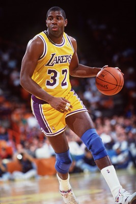 1990-1991:  Earvin Magic Johnson of the Los Angeles Lakers in action against the Portland Trailblazers.  Mandatory Credit: Stephen Dunn/Allsport