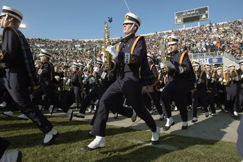 SOUTH BEND, IN - NOVEMBER 21: Marching Band of the Notre Dame Fighting Irish enters the field before the game against the Univeristy of Connecticut Huskies at Notre Dame Stadium on November 21, 2009 in South Bend, Indiana. (Photo by Jonathan Daniel/Getty