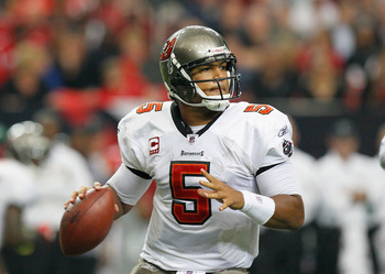 ATLANTA - NOVEMBER 07:  Quarterback Josh Freeman #5 of the Tampa Bay Buccaneers against the Atlanta Falcons at Georgia Dome on November 7, 2010 in Atlanta, Georgia.  (Photo by Kevin C. Cox/Getty Images)