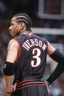 25 Nov 2001: Allen Iverson #3  of the Philadelphia 76ers looks on the court during the game against the Toronto Raptors at the Air Canada Centre in Toronto, Canada. The Raptors defeated the 76ers 107-88. TO USER: User expressly acknowledges and agrees tha