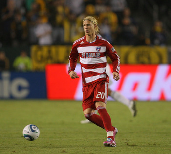 CARSON, CA - OCTOBER 24:  Brek Shea #20 of FC Dallas passes the ball in the second half during the MLS match against the Los Angeles Galaxy on October 24, 2010 in Carson, California.  (Photo by Victor Decolongon/Getty Images)