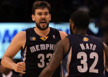 OKLAHOMA CITY, OK - MAY 01:  Center Marc Gasol #33 of the Memphis Grizzlies reacts against the Oklahoma City Thunder in Game One of the Western Conference Semifinals in the 2011 NBA Playoffs on May 1, 2011 at Oklahoma City Arena in Oklahoma City, Oklahoma