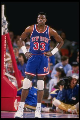1990-1991:  Center Patrick Ewing of the New York Knicks looks on. Mandatory Credit: Tim de Frisco  /Allsport
