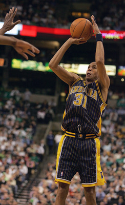 BOSTON - APRIL 25:  Reggie Miller #31 of the Indiana Pacers shoots a jump shot against the Boston Celtics in Game two of the Eastern Conference Quarterfinals during the 2005 NBA Playoffs at the FleetCenter on April 25, 2005 in Boston, Massachusetts. The P