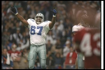 23 Jan 1994:  Defensive lineman Russell Maryland of the Dallas Cowboys celebrates during a playoff game against the San Francisco 49ers at Texas Stadium in Irving, Texas.  The Cowboys won the game, 38-21. Mandatory Credit: Mike Powell  /Allsport