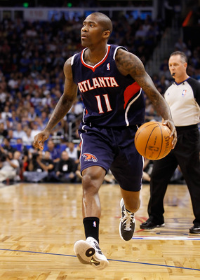 ORLANDO, FL - APRIL 26:  Jamal Crawford #11 of the Atlanta Hawks drives against the Orlando Magic during Game Five of the Eastern Conference Quarterfinals of the 2011 NBA Playoffs on April 26, 2011 at the Amway Arena in Orlando, Florida.  NOTE TO USER: Us