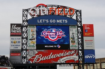 NEW YORK - APRIL 13:  The scoreboard is seen prior to the New York Mets playing the San Diego Padres on April 13, 2009 at Citi Field in the Flushing neighborhood of the Queens borough of New York City.This is the first regular season MLB game being played