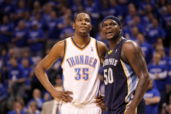 OKLAHOMA CITY, OK - MAY 03:  Forward Kevin Durant #35 of the Oklahoma City Thunder and Zach Randolph #50 of the Memphis Grizzlies in Game Two of the Western Conference Semifinals in the 2011 NBA Playoffs on May 3, 2011 at Oklahoma City Arena in Oklahoma C