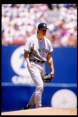 11 Jul 1993:  Pitcher Jim Abbott of the New York Yankees in action during a game against the California Angels at Anaheim Stadium in Anaheim, California.    Mandatory Credit: Jonathan Daniel  /Allsport