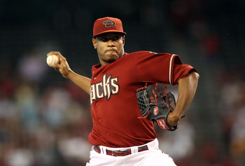 PHOENIX - JUNE 13:  Starting pitcher Edwin Jackson #36 of the Arizona Diamondbacks pitches against the St. Louis Cardinals during the Major League Baseball game at Chase Field on June 13, 2010 in Phoenix, Arizona. The Diamondbacks defeated the Cardinals 7