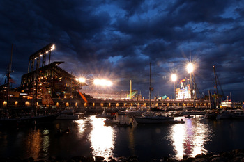 SAN FRANCISCO - OCTOBER 28:  An exterior view of the outside of  AT&T Park as boaters and fans congregate around McCovey Cove during Game Two of the 2010 MLB World Series between the San Francisco Giants and the Texas Rangers at AT&T Park on October 28, 2