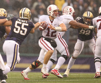 SEATTLE - OCTOBER 30:  Quarterback Andrew Luck #12 of the Stanford Cardinal looks for a receiver against the Washington Huskies on October 30, 2010 at Husky Stadium in Seattle, Washington. Stanford won 41-0. (Photo by Otto Greule Jr/Getty Images)