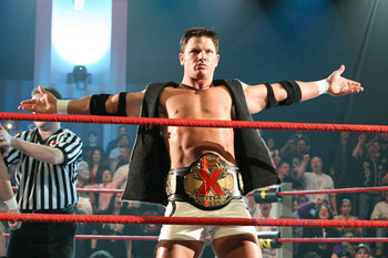 What happened here? AJ Styles as the X Division Champion, and being featured prominently. Oh yeah, TNA doesn't operate under those guidelines anymore. Crying shame.