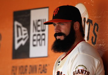 SAN FRANCISCO, CA - APRIL 24:  Brian Wilson #38 of the San Francisco Giants sits in the dugout during their game against the Atlanta Braves at AT&T Park on April 24, 2011 in San Francisco, California.  (Photo by Ezra Shaw/Getty Images)