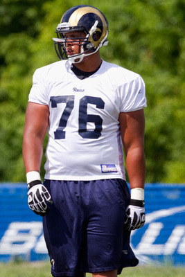 EARTH CITY, MO - JULY 31: Rodger Saffold #76 of the St. Louis Rams in action during training camp at the Russell Athletic Training Facility on July 31, 2010 in Earth City, Missouri.  (Photo by Dilip Vishwanat/Getty Images)