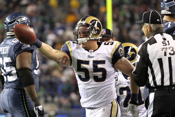 SEATTLE, WA - JANUARY 02:  James Laurinaitis #55 of the St. Louis Rams celebrates recovering a fumble by the Seattle Seahawks during their game at Qwest Field on January 2, 2011 in Seattle, Washington.  (Photo by Otto Greule Jr/Getty Images)