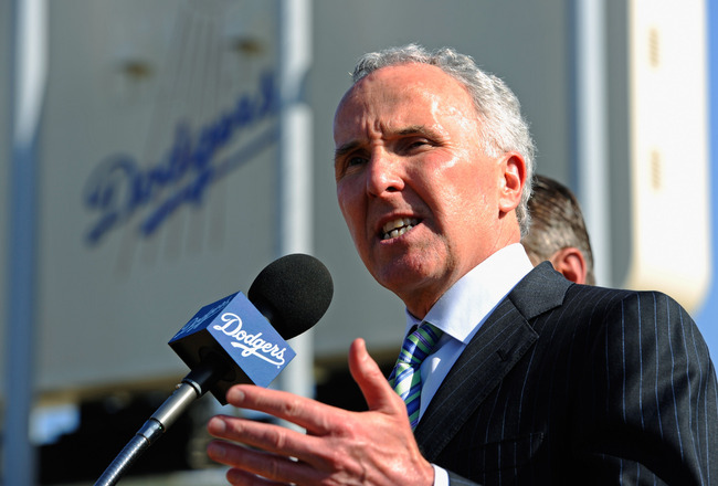 LOS ANGELES, CA - APRIL 14:  Los Angeles Dodgers owner Frank McCourt  speaks at a news conference at Dodger Stadium prior to a game between the St. Louis Cardinals and Los Angeles Dodgers on April 14, 2011 in Los Angeles, California. Large numbers of LAPD