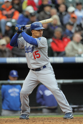 DENVER, CO - APRIL 06:  Rafael Furcal #15 of the Los Angeles Dodgers takes an at abt against the Colorado Rockies at Coors Field on April 6, 2011 in Denver, Colorado.  (Photo by Doug Pensinger/Getty Images)